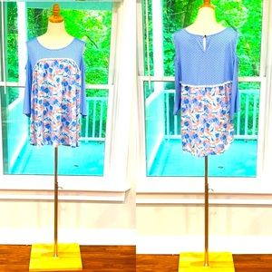 New Direction 3/4 Length Cold Shoulder Tunic Top